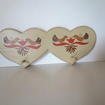 Small Hand Painted FOLK Heart  Coat Hat Rack 2 ... - $9.89