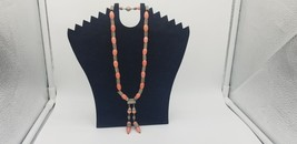 Vintage Silver Tone And Salmon Color Beaded Strung Necklace W/Dangling P... - $29.02