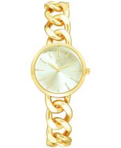 I.N.C. Women's Gold Tone Cuban Chain Crystal Dial Bracelet Quartz Watch 30mm NEW