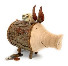 Black Forest Wooden Piggy Bank with Bark Handmade in Germany - $50.83