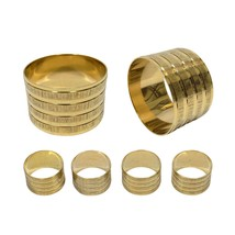 4 X HOTEL RESTAURANT WEDDING HOSPITALITY BRASS GROOVED GOLD NAPKIN RINGS... - $13.73