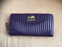 NWOT/COACH/GATHERED Leather WALLET/PURPLE - $275.00