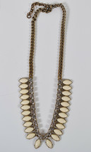 J. Crew Necklace Large Clear Crystal Rhinestones Ivory Stones Statement ... - $29.70