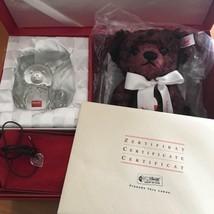 Steiff x Baccarat Teddy Bear Plush Doll 2001 Pendant Crystal Bear From J... - $1,028.99