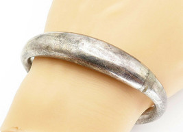 925 Sterling Silver - Vintage Hollow Smooth Oval Bangle Bracelet - B5918 - $80.23