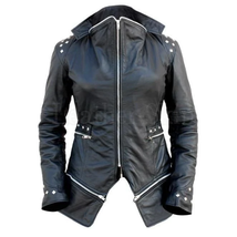 Vintage Style Black Genuine Leather Studded Jacket with Detachable Bottom - $282.15+
