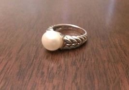 ANTIQUED STERLING SILVER & 14K GOLD 10mm FRESHWATER PEARL RING -  SIZE 6 - $102.88