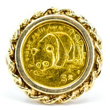 1987 1/20 oz 5 Yuan Panda Coin 10K Yellow Gold Ring Ring Size 7.75 5.4g image 1