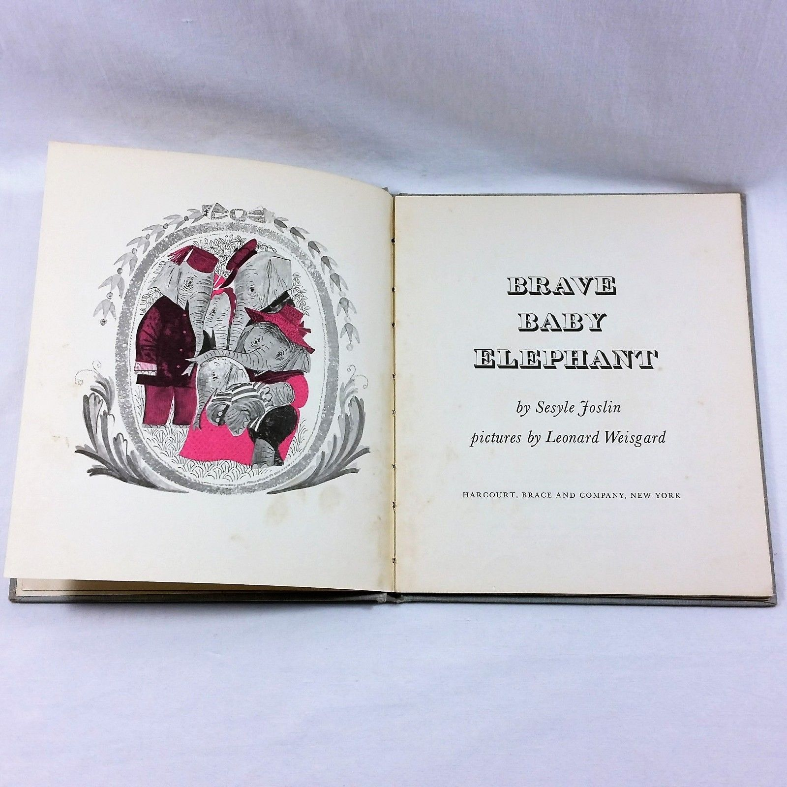 Brave Baby Elephant 1960 Childrens Vintage Book Sesyle Joslin Hardcover Weisgard