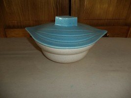 CALIFORNIA  POTTERY vintage beige/turquoise covered candy dish - $9.89