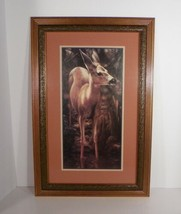 Home Interiors Homco FOREST DOE Fawn Deer Framed Print 23 x 15 Wall Decor - $69.25