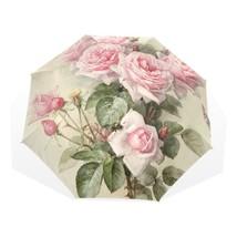Floral Umbrella Pink Rose Folding Women Rain Parasol Handle Double Windp... - $40.39