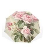 Floral Umbrella Pink Rose Folding Women Rain Parasol Handle Double Windproof New - £29.20 GBP