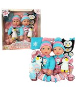 "NEW Brass Key Celebrating Twins 15"" Tall Baby Dolls POLAR CUTIES 2 Doll+Penguin - $64.99"
