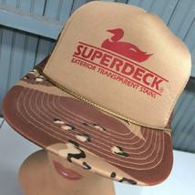 VTG Superdeck Duck Logo Exterior Deck Stains Snapback Baseball Hat Cap Camo - $24.43