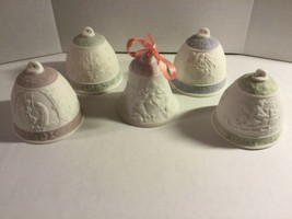 LOT OF FIVE LLADRO PORCELAIN CHRISTMAS BELLS, YEARS 1988, 91, 92, 93 & 97 - $89.00