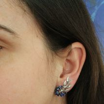 SOLID 18K WHITE GOLD FLOWER, LEAVES SCREW BACK EARRINGS WITH DIAMONDS SAPPHIRES image 6