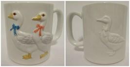 Vinatge Otagiri Coffee Mug Cup Ceramic Embossed 3D Ducks Geese Hand Made (B) - $4.92