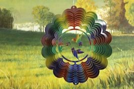 12in stainless steel multicolor primary hummingbirds USA 3D hanging wind spinner - $32.00