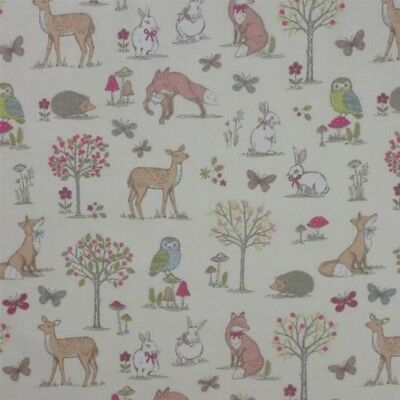 Animals of the Forest Cream 100% Cotton High Quality Fabric Material 3 Sizes