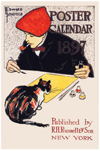 Vintage Decoration & Design Poster.1897 Painted Cat.Room wall art Decor894i - $9.90+