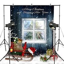 MUEEU 8x8ft Christmas Photography Backdrop Xmas Gifts Snowflakes Wood Panel - $47.09