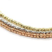 3 18K ROSE WHITE YELLOW GOLD BRACELETS, DIAMOND CUT BALLS 1.5 MM, TRIPLE WORKED image 3
