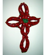 """Red Chili Pepper Resin Cross Wall Hanging Kitchen Collectible (8 3/4"""") - $11.66"""