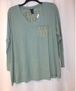 NEW WOMENS PLUS SIZE 3X LIGHT SPRING GREEN SWING SHIRT TOP WITH LACE POCKET - $19.34