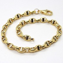 18K YELLOW WHITE GOLD 4 MM OVAL NAVY MARINER BRACELET 8.30 INC. 21 CM ITALY MADE image 1