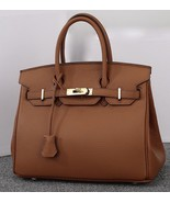 35cm Pebbled Italian Leather Lock and Key Birkin Style Handbag Satchel  ... - $159.95