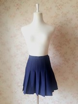 NAVY BLUE Girl School Skirt Tennis Skirt Navy High Waisted Pleated School Skirt image 2