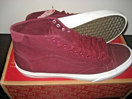 Vans Mens Court Mid Canvas Port Royale Red Skate Casual shoes Size 11 NWT - $54.43