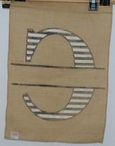 Kate Winston Brand Brown Burlap Monogram Black And White C Garden Flag image 2