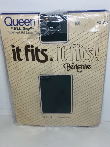 Berkshire Pantyhose Queen 5X It Fits Navy Sandalfoot Sheer Full Panel Sissy - $12.86