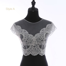 Deep V Illusion Neckline Lace Tops Sleeveless Empire Style Lace Bridesmaid Tops image 6