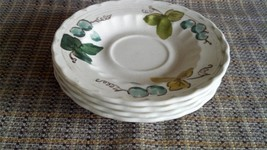 "Lot of 4 Vernon Ware ""Vineyard"" Pattern Saucers by Metlox - $12.97"