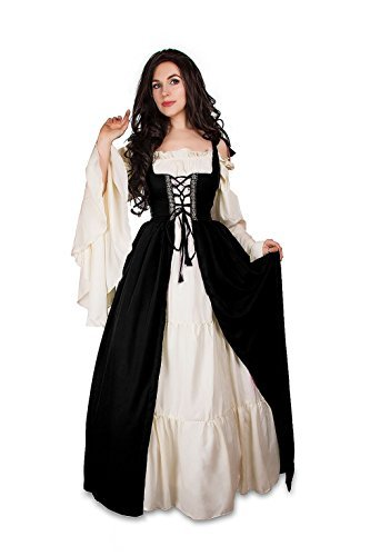 Mythic Renaissance Medieval Irish Costume Over Dress & Cream Chemise Set (XXS/XS