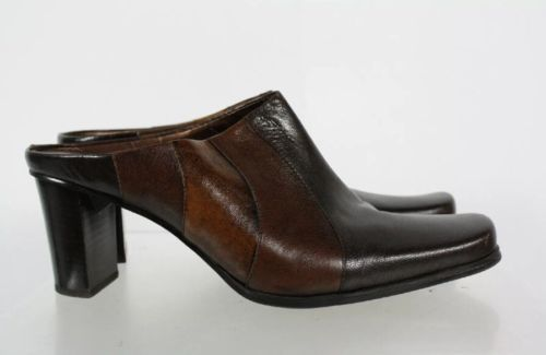 Liz Claiborne Brown Leather Square Toe  Chunky Heel Slip On Mule Shoes Size 10M