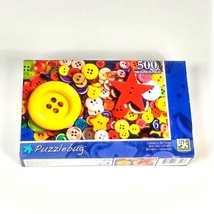 Puzzlebug 500 Piece Jigsaw Puzzle Colorful Buttons Brand New Sealed - $10.89