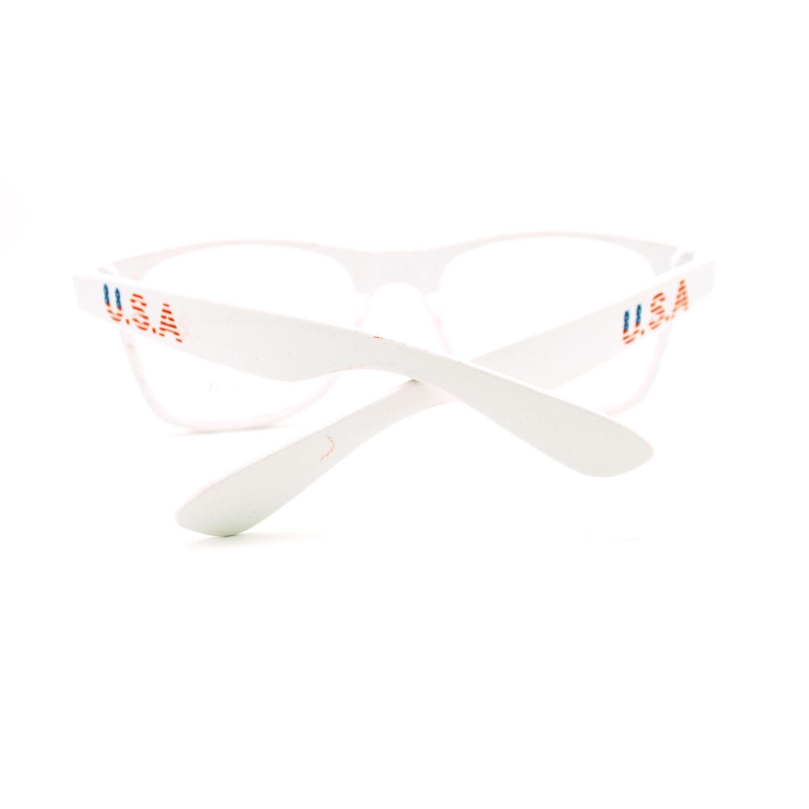 06fb7e70dc7 White Patriotic USA American Flag Print Clear Lens Geeky Nerd Eye Glasses