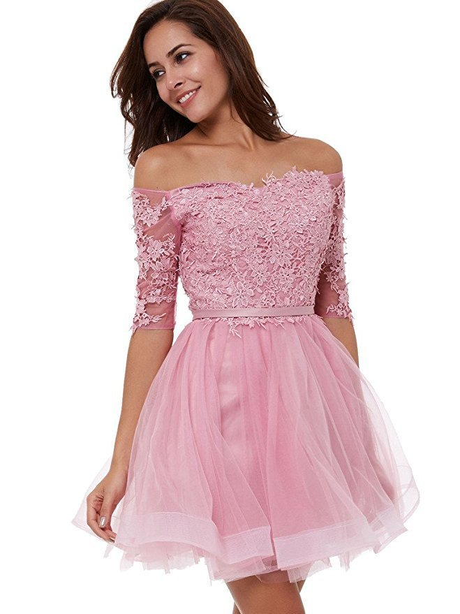 Primary image for Blush Pink Lace Prom Dress Short Sleeves 2018 Formal Homecoming Party Dresses