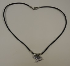Wolf Charm Necklace Waxed Cotton Cord Lobster Claw Clasp 18 in - $6.40