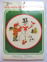 Boy Making Snowman Christmas Snow NEW Counted Cross Stitch Kit 7 inch Hoop - $16.99