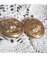 Vintage Signed DISNEY Wendy Gell Mickey Mouse Raised Cameo Clip On Earrings - $23.75