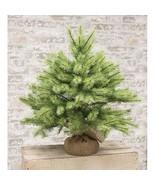 New !! Park Pine Green Holiday Christmas Tree Tabletop Burlap Base Rustic - $47.02+