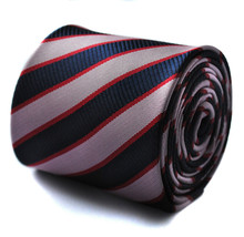 Navy Pink and Red Striped Mens Tie by Frederick Thomas FT666 - $15.44