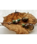 River Moss necklace: natural snail shell, earthtone beads and turtle accent - $33.00