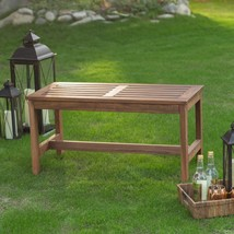 Outdoor Brown Finish Solid Wood Slatted Fire Pit Bench Lawn Garden Furni... - $98.50
