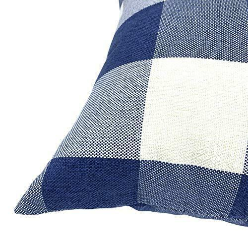 Navy Decorative Throw Pillow Case Cushion Covers Buffalo Checked Plaid 2-Pieces image 4